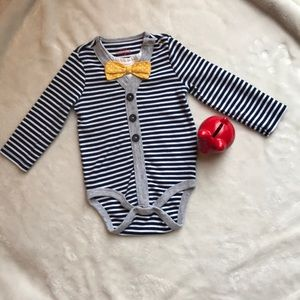 🐱 Cat and Jack navy/white striped bow tie onesie